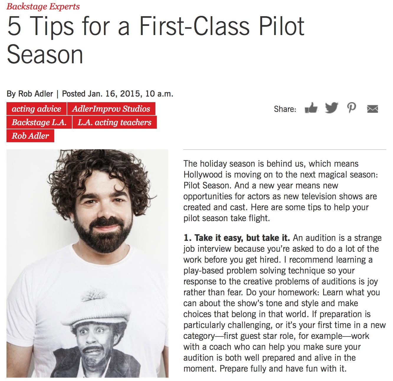 Pilot Season Prep