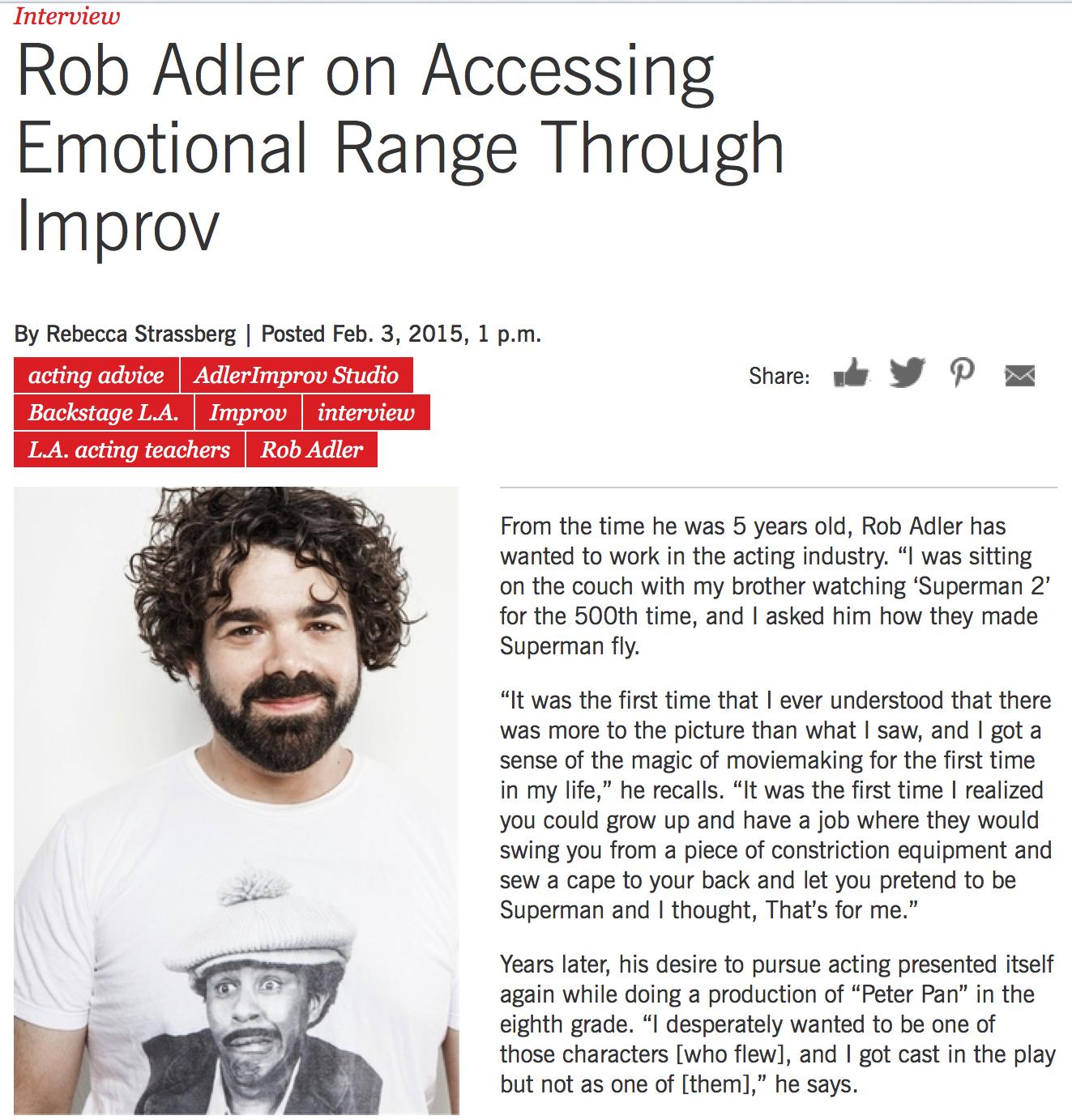 AdlerImprov Acting Studio - Backstage Interview