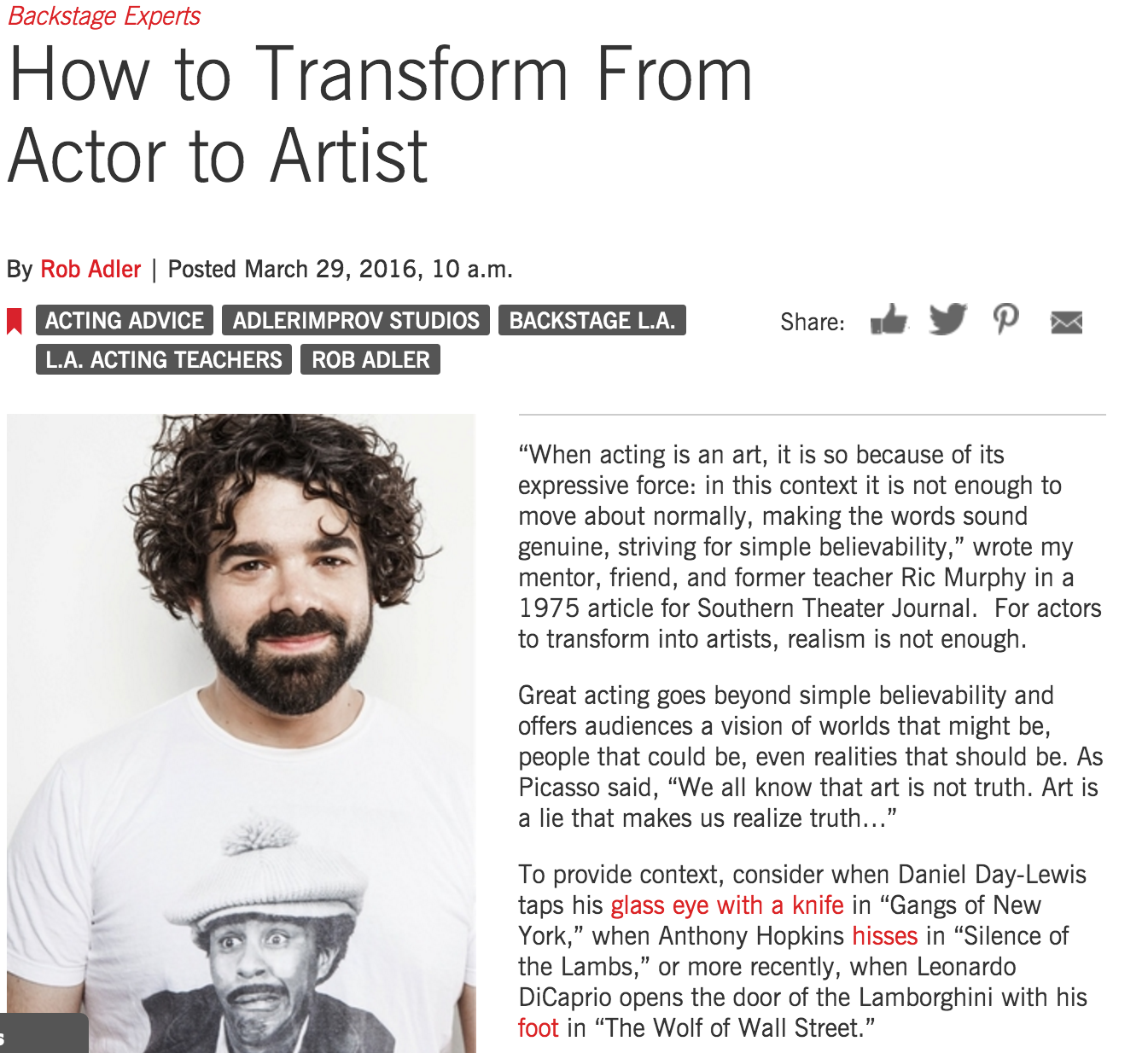 Rob Adler - Backstage - How to Transform From Actor to Artist
