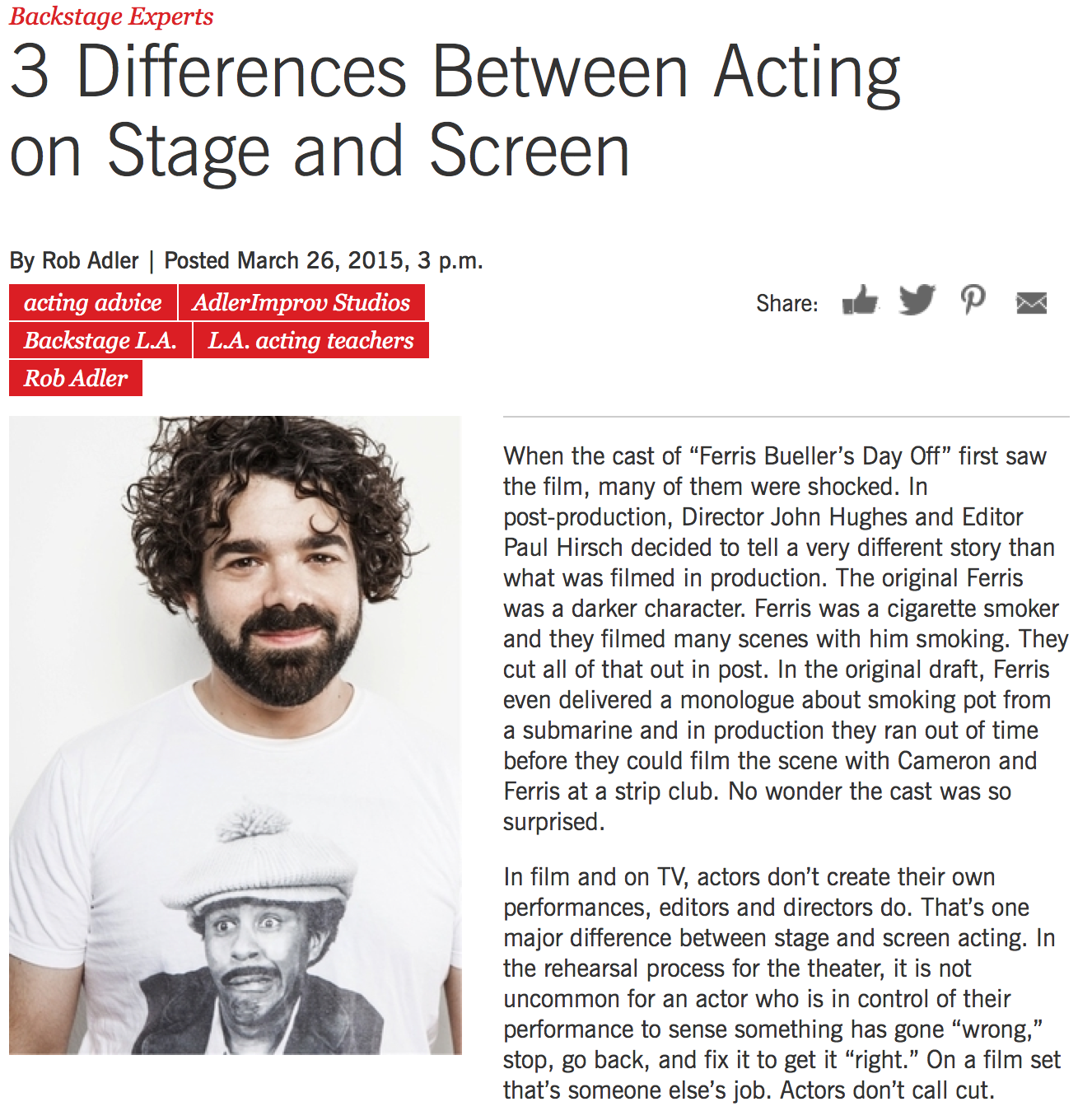 Stage vs. Screen